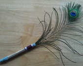 Peacock Feather Pen, Victorian Vintage Lace Gold Design, Beautifully Iridescent, Cruelty Free, Feathers shed naturally