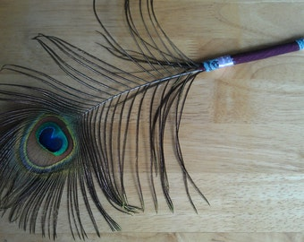 Peacock Feather Pen, Burgundy Victorian Design, Beautifully Iridescent, Cruelty Free, Feathers shed naturally