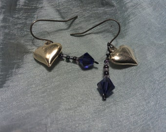 Earrings,Brass Heart and Purple Crystal, Valentines Day, Hand Made Artesian Jewelry, Great Gift idea