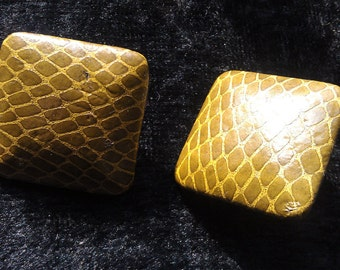 Earrings, Vintage, Olive Green, Simulated Reptile Pattern, Stud Back
