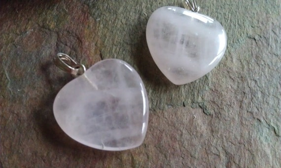 Earrings, Pendants, Matching Pair, Rose Quartz Hearts, Smooth Polished, Beautiful, FREE Shipping