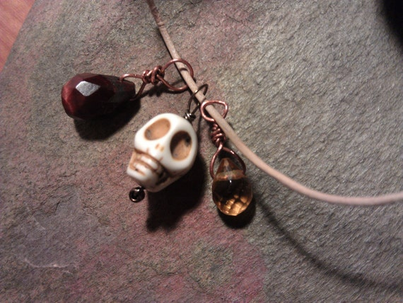 Neclace, Stone Skull, Magic, Faceted Red Tigereye Teardrop, Faceted Lemon Quartz Teardrop,Leather Cord, FREE Shipping