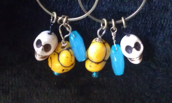 Earrings,Skull Natural Stone Beads,Wire Wrapped, Yellow Chunky Stones, Faceted Blue Gemstones, Oxidized Brass Rings/ Ear wires