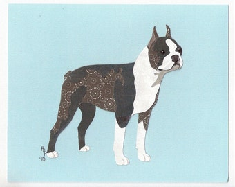 Boston Terrier handmade original cut paper collage dog art natural ears available