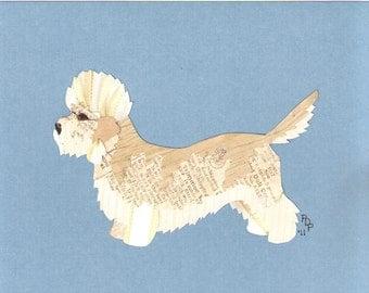 Dandy Dinmont handmade original cut paper collage dog art also in salt & pepper