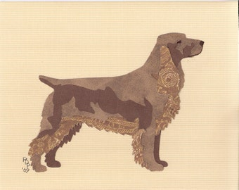 Field Spaniel handmade original cut paper collage dog art all colors available