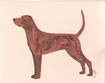 Redbone Coonhound handmade original cut paper collage dog art