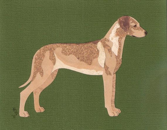 Rhodesian Ridgeback handmade original cut paper collage dog art