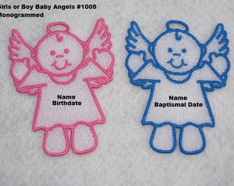 Personalized Baby Angel Ornaments or Gift Tags