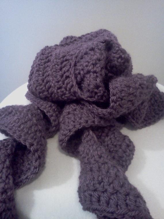 Dusty Purple Crochet Ruffle Scarf