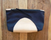 Leather and Canvas cotton - Navy Half Moon Pouch.