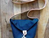 Mini messenger bag - Navy Cotton canvas & Leather.