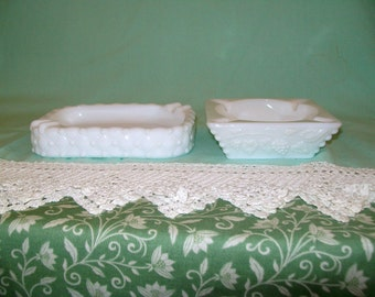 Milk Glass Ash Trays (2), 1 Rectangular Quilted Pattern, 1 Square Beaded Grape Westmoreland