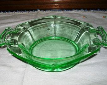 Vaseline Glass, Depression Glass, Handled Bowl