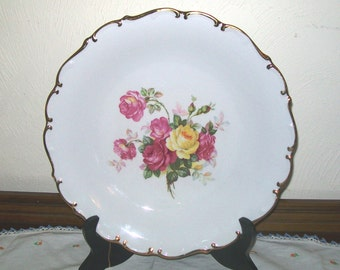 BAVARIA SCHUMANN ARZBERG No. 49 Round Platter 11 3/4  inch, Chop Plate, Empire Rose Motif with gilded edge