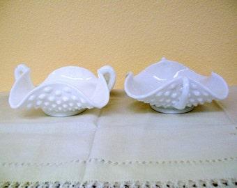 Vintage Fenton Milk Glass Hobnail Bon Bon Dishes (Pair)