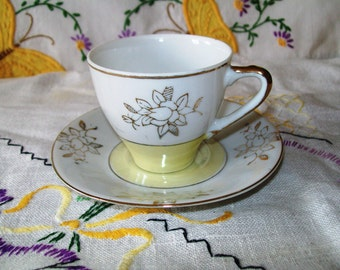 Vintage Japanese China Demitasse Cup and Saucer, Yellow, Gold and White,