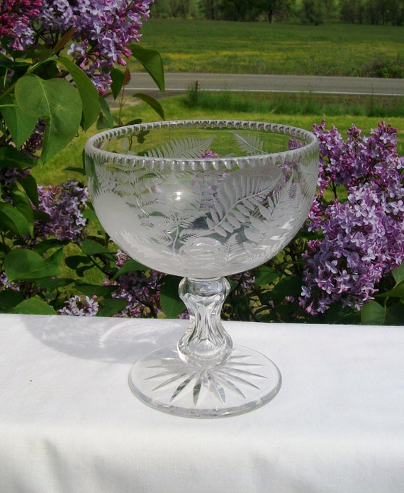 CRYSTAL FOOTED COMPOTE, Etched Fern Design