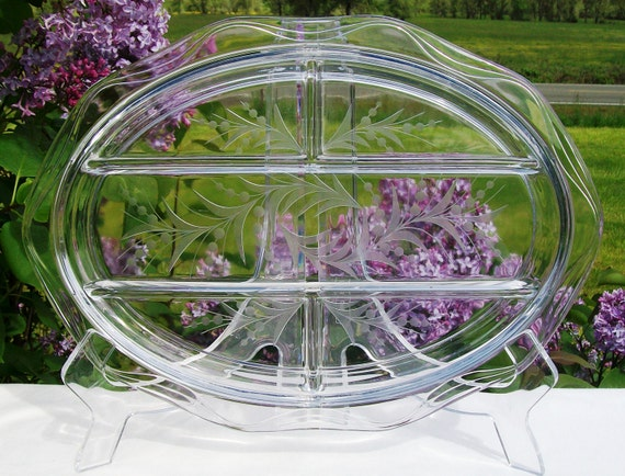 Vintage Fostoria Etched Glass Divided Platter, Heavy Glass, Holly Pattern