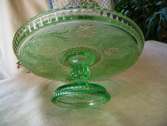 Green pressed glass cake stand cake plate on pedestal raised for Colored glass cake stand