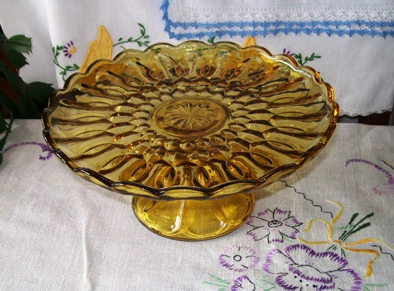 Vintage pressed glass cake stand amber glass by molliesfarm for Colored glass cake stand