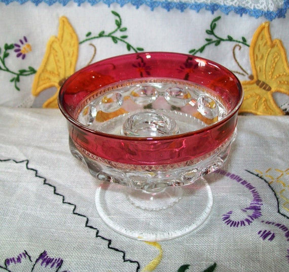Vintage Indiana Glass Kings Crown Ruby Flash Candle Holder