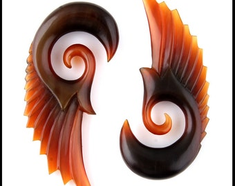6g Seraphim Angel wings organic buffalo horn ear plugs gauges
