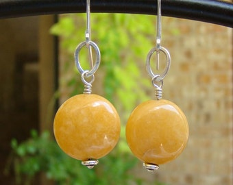 Fall Earrings  Yellow Jade & Sterling Artisan Hand Made Dangle