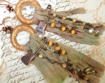 Long Vintage Etched Brass Circlet with Vintage Beads, Silk Sari Ribbon & Pin Earrings