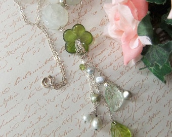 Sterling Silver Floral Blooms Necklace with Cultured Pearls, New Jade and Candy Jade