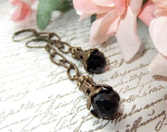 Faceted Black Teardrop with Chocolate Ox Vintage Bead Cap and Chain Dangles