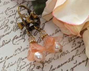 Sweet Cultured Pearl, Czech Bell Cap and Swarowski Crystal & Brass Dangles