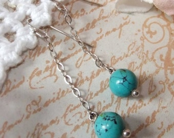 Sterling Silver Chain and Turquoise Bead Dangle