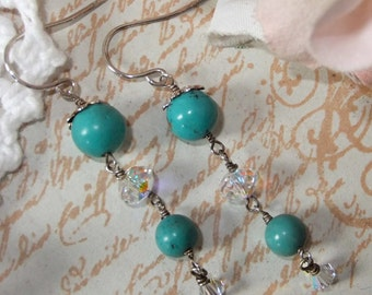 Turquoise and Sterling Silver Sparkle Crystal Earring