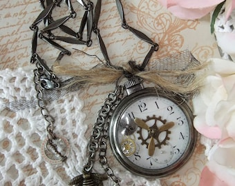 Steampunk Pocket Watch Casing, Vintage Clock Face propeller, Movable Gears, Tattered Rope/Tulle Knot and Bee on Unique Vintage Steel Chain