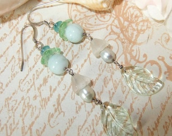 Sterling Silver Floral Apatite, Amazonite and Pearl Dangle