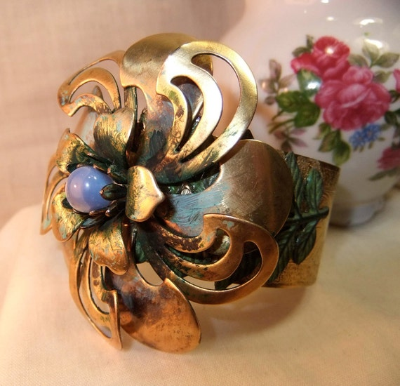 SALE Large Brass Cuff with Large Brass Flower and Opalite