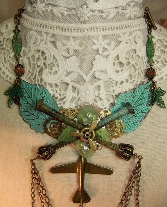 Steampunk Verdigris Leaves, Watch Gears and Vintage Screws Chain Necklace