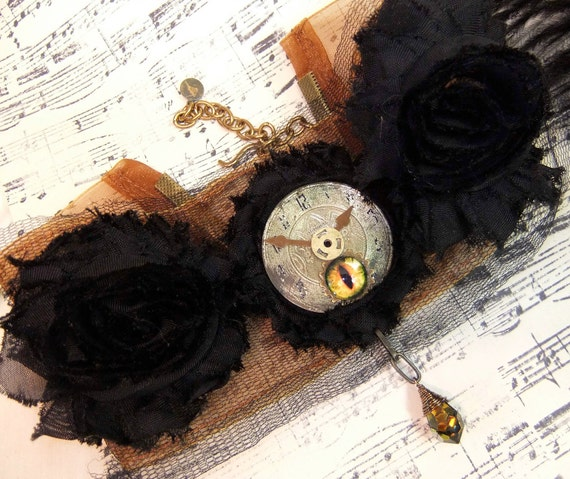Steampunk Vintage Clock Face on Black Chiffon Roses with Eye and Crystal Briolette Drop