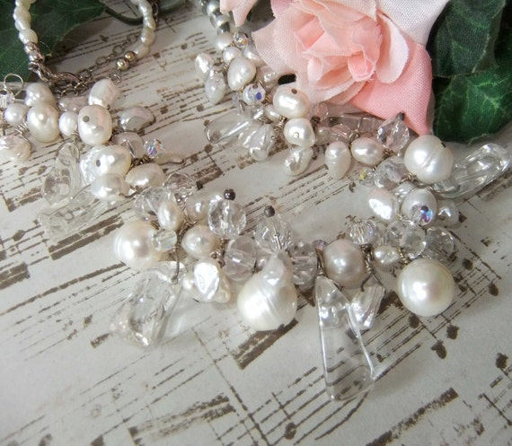 Sterling Silver Cultured White Pearl and Quartz Ice Necklace