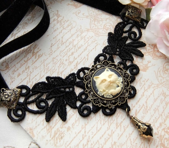 RESERVED FOR RHONA  only. Venetian Lace Choker With Cat Cameo and Crystal Drop