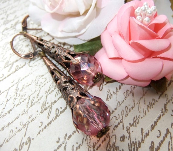 Filigree cone earrings with vintage faceted pink crystal