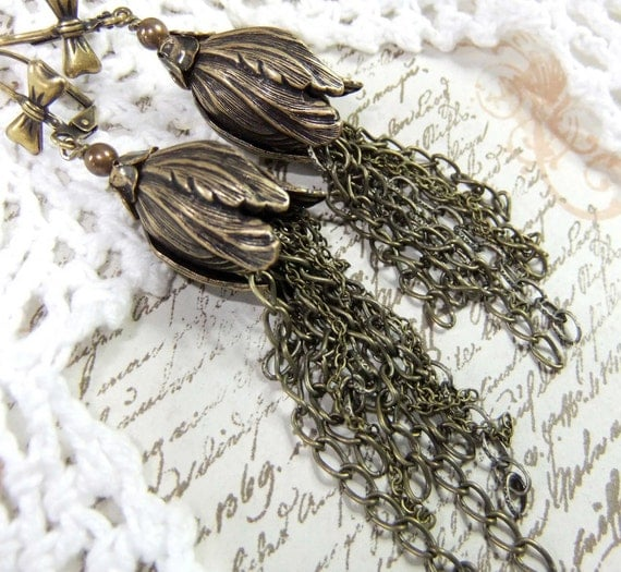 RESERVED For Ilse Antique Brass Tulip Bead Dangles With Multi Chains