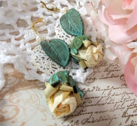 RESERVED For Ilse. Cream Rosebud Verdigris  Bead Cap Verdigris Rose Leaf & White Patina Filigree Brass Lace with Swarowski Crystal and Pearl