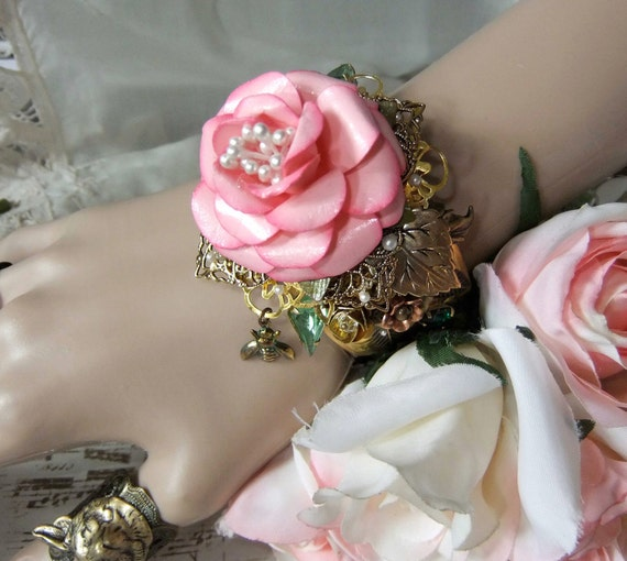 Pink Rose, Vintage Crystals and Brass Cuff