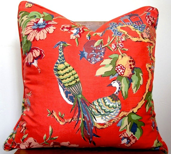 Pillow Red Asian Toile Designer Fabric Size 22x22 with self welt
