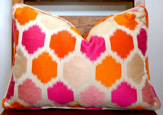 Pink and Orange Modern Pillow Size 14x19