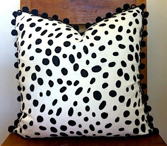 Black and White Spotted Pillow Cover with Pom Pom Black Fringe size 18x18