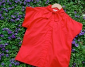 Vintage Red Librarian Collared Blouse Shirt // Madmen Style // Humane Society Donation // 1960
