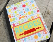 Recipe Notebook, Journal, Colorful and Kitchen Themed